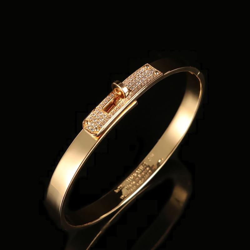 Fashion 18K oro rosa placcato mezzo diamante lock kelly braccialetto Platinum Starry European E American Ins Aperto Braccialetto
