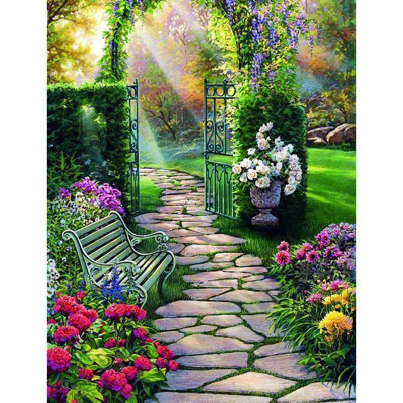 Diamond Painting Full Square Garden Cross Stitch DIY Embroidery Scenery Pattern Rhinestones Mosaic Home Decor Gift