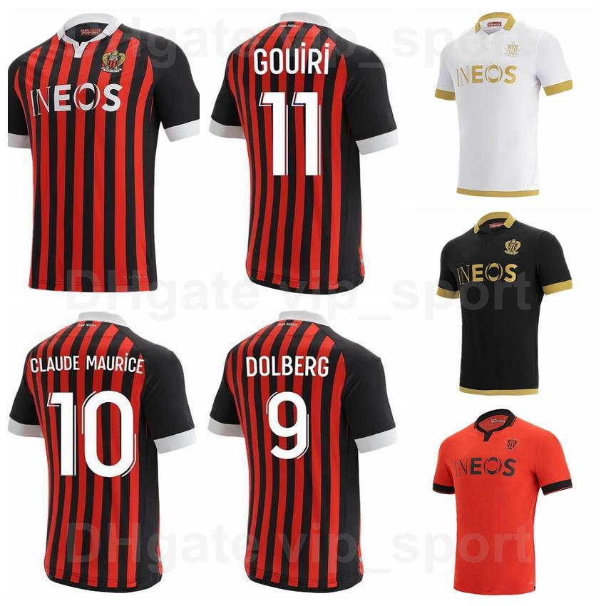 2020 2021 OGC Nice Futebol 9 Kasper Dolberg Jersey 8 Pierre Lees-Melou 25 Wylan Cyprien 11 Amine Gouiri Football Shirt Kits Nome do costume