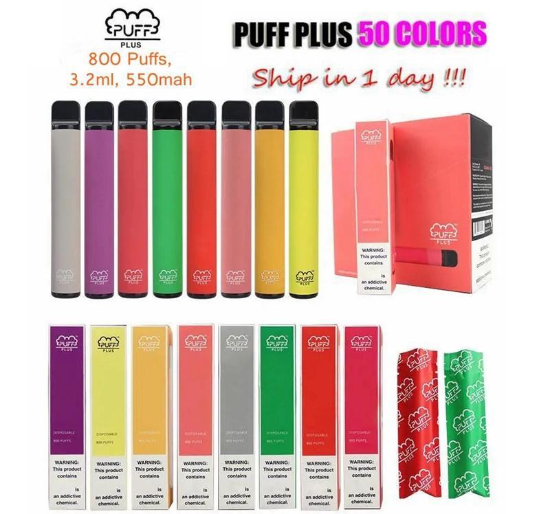 Puff Bar Plus Engångsvap Pen Elektronisk Cigarett 800 Puffar Vape Enhet 550mAh 3.2ml Pod Alla Flavrs tillgängliga