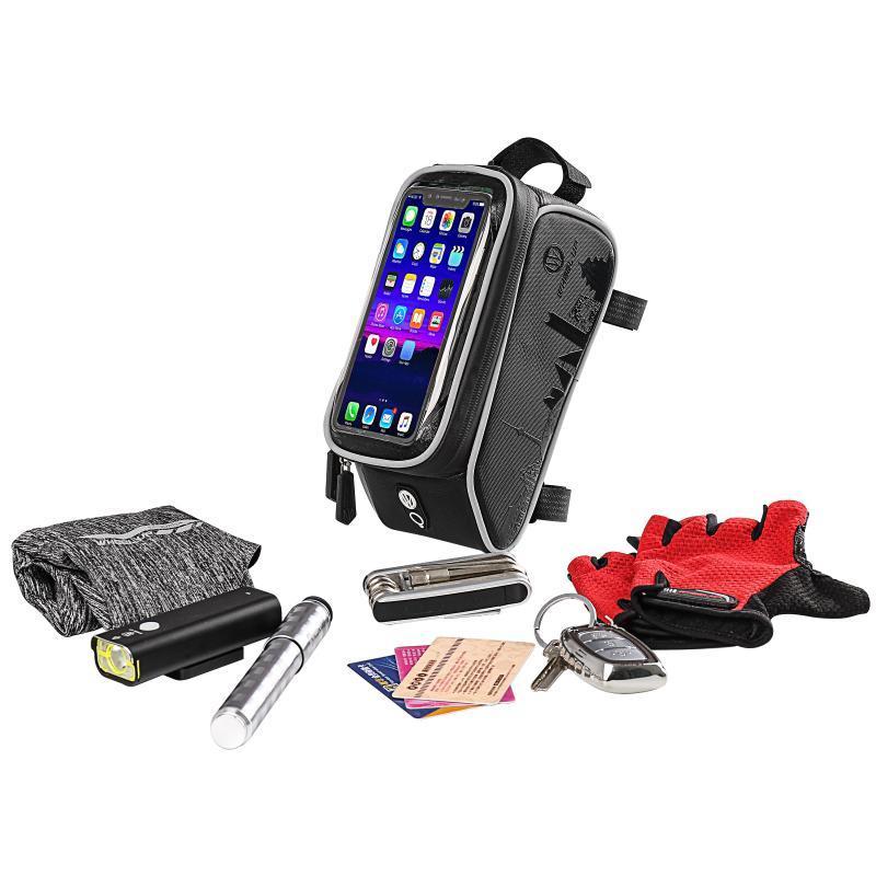 Sacos de bicicleta Bicicleta Bicicleta Cabeça de Cabeça Handlebar Cell Cell Mobile Phone Saco Capa Panniers Frame Pannier para 6 iphone