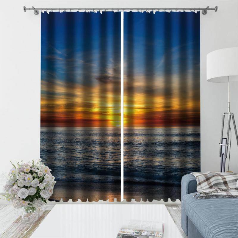 Alta qualidade personalizada 3d cortina tecido lago cortinas janela para sala de estar drapes