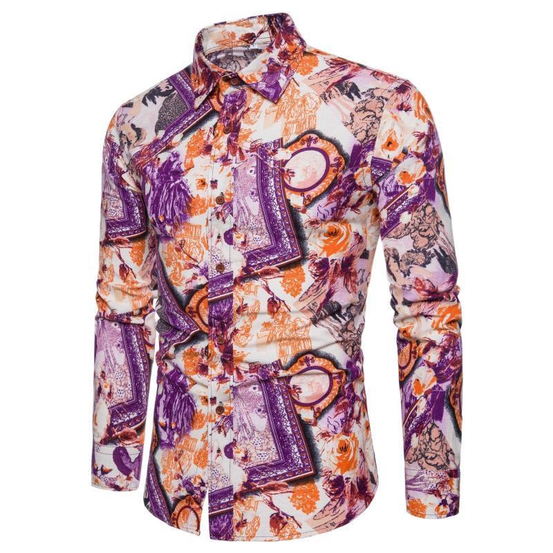 Camisas casuales para hombres 2021 Gran impresión primavera y otoño europeo estadounidense moda ocio manga larga solapa floral