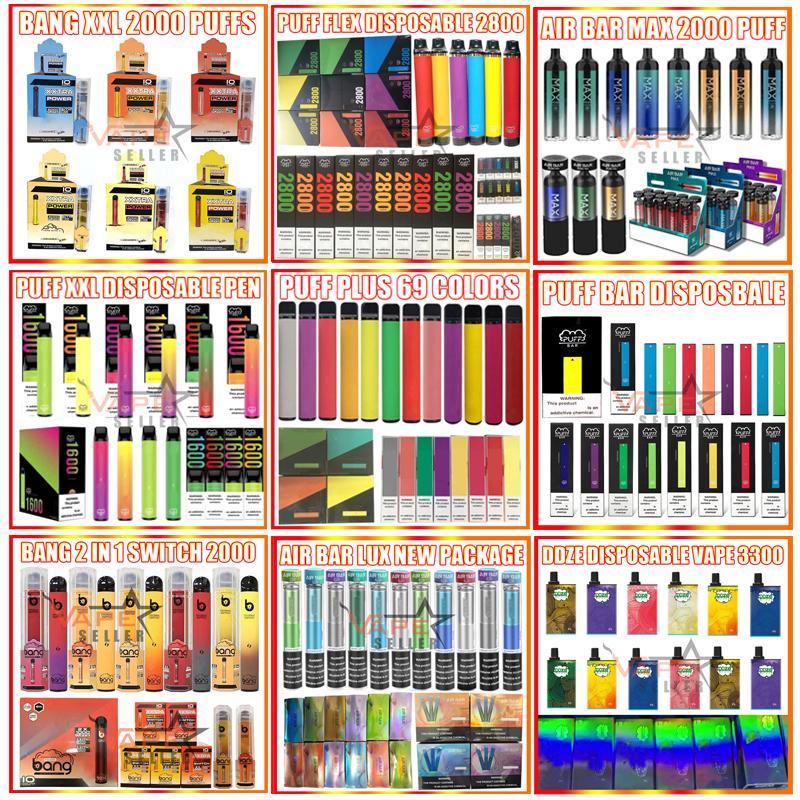 Einweg-Vape-Stift E-Zigarettenbang XXL-Puff Bar plus Max Flex Airbar Lux Extra 800 1000 1500 1600 2000 2200 Puffs Ezzy Super Starter Kit