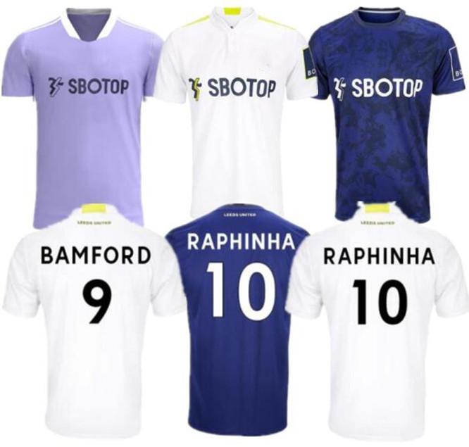 21 22 LEEDS SOCCER JERSEY 2021 2022 Home Football Chemise Phillips Bamford Raphinha Llorente R Rodrigo Hommes