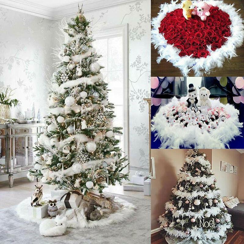 3шт 2 м Рождественская елка белый перо боа полоса рождественские ленты партии гирлянда украшения одежды ткань DIY свадебные принадлежности