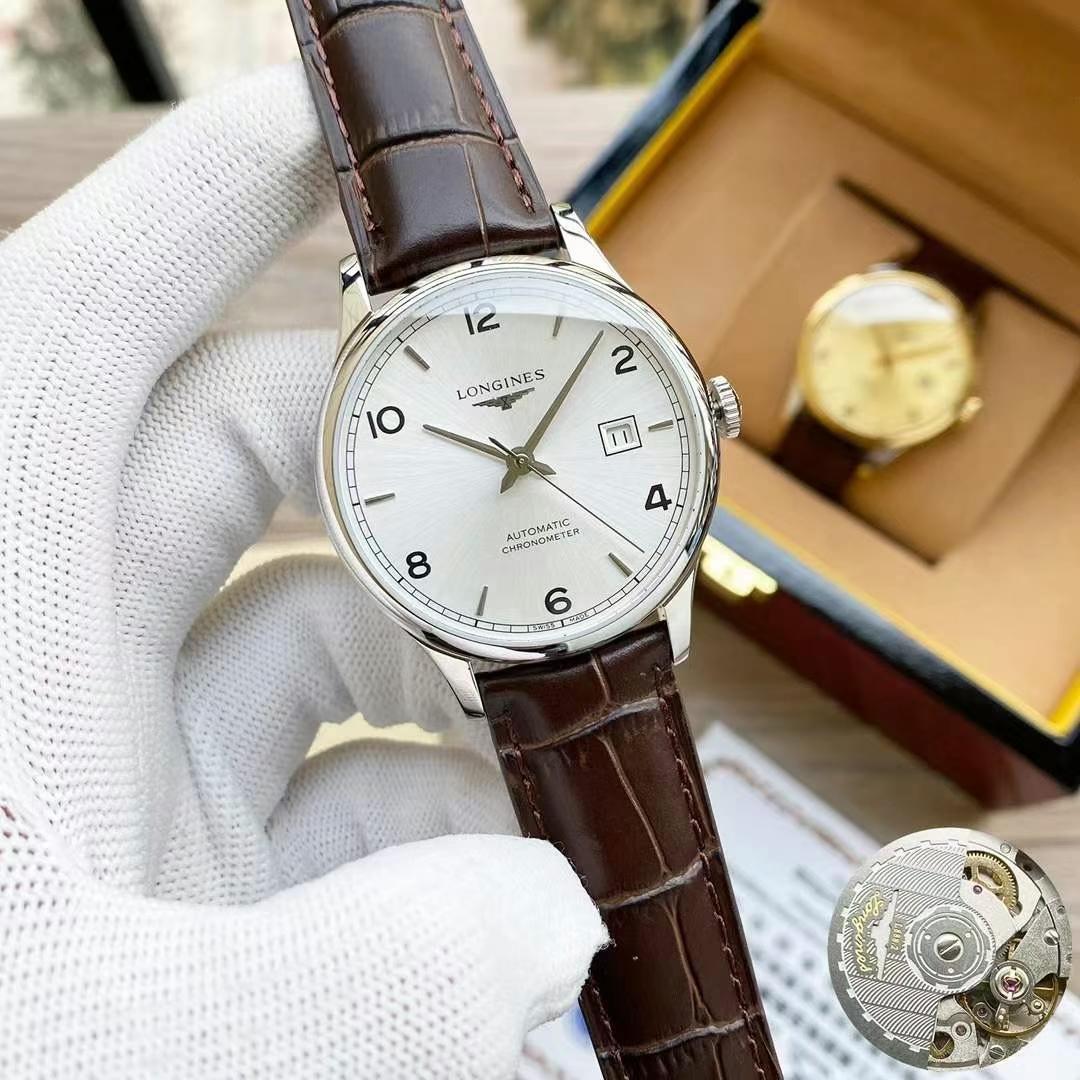 Relógio de pulso mecânico automático, espelho de safira de olho duplo masculino, usando o formato original do processo de desenho de polimento