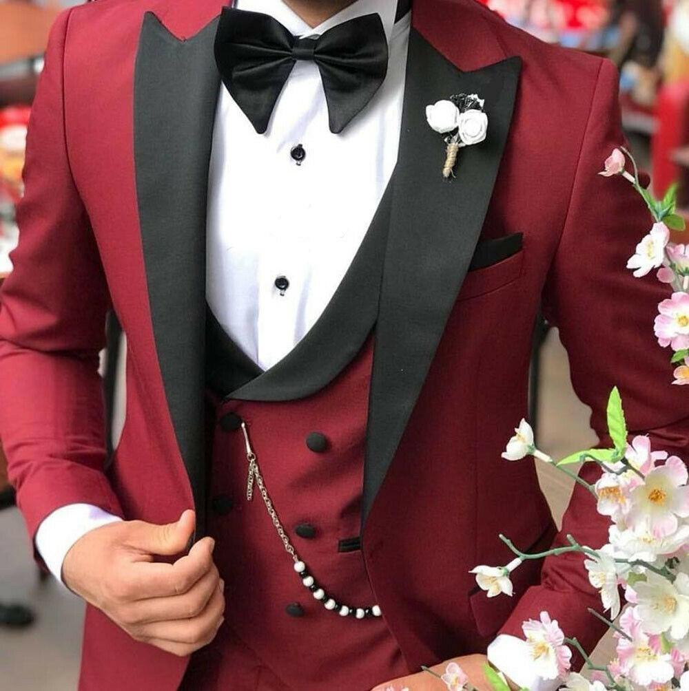 Classic One Button Wedding Tuxedos Peak Lapel Slim Fit Suits For Men Groomsmen Suit Prom Formal (Jacket+Pants+Vest+Tie) W702
