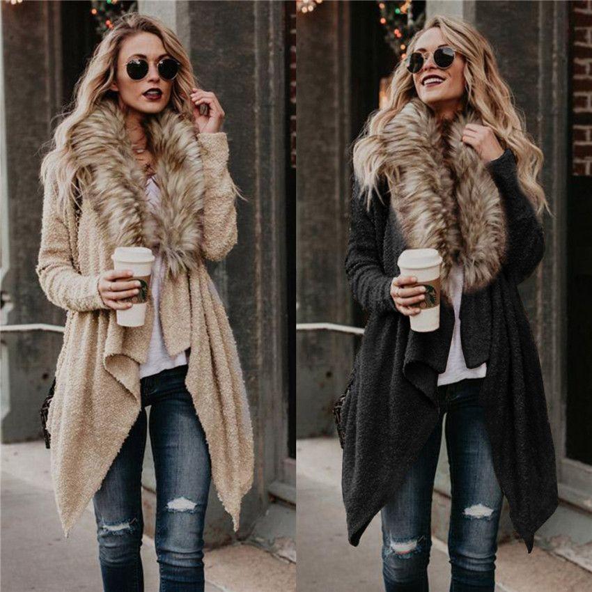 Bayan Trençkot Hırka Gevşek Uzun Kollu Katı Renk Kadın Palto Bahar Sonbahar Rahat Bayanlar Giyim