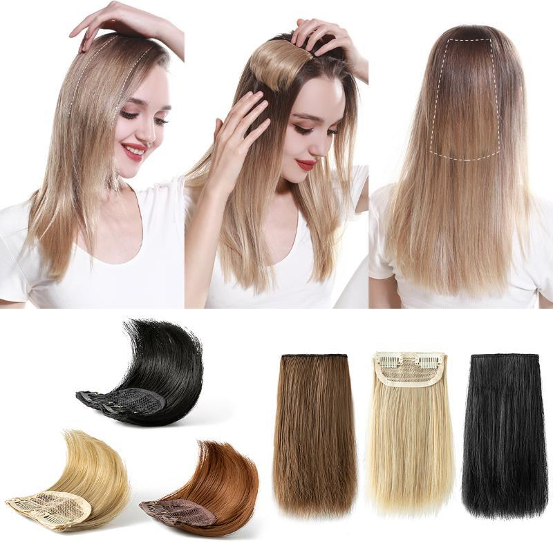 Synthetic Wigs Hair Volume Pads Invisible Fluffy Hairpieces Seamless Brown Straight Clip In One Piece For Women