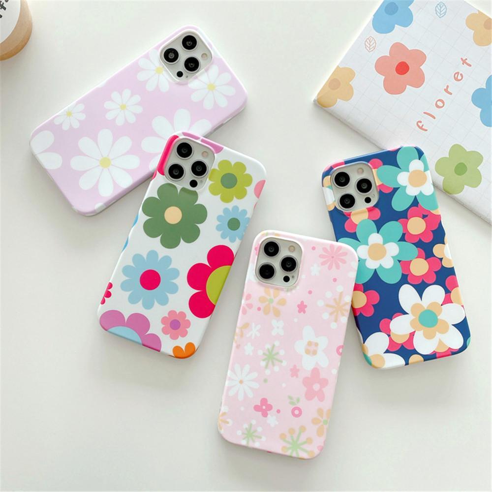Coffres de téléphone de fleurs colorées de mode pour iPhone 12 pro Mini 11 x XR xs max 7 8 plus SE Couverture IMD souple