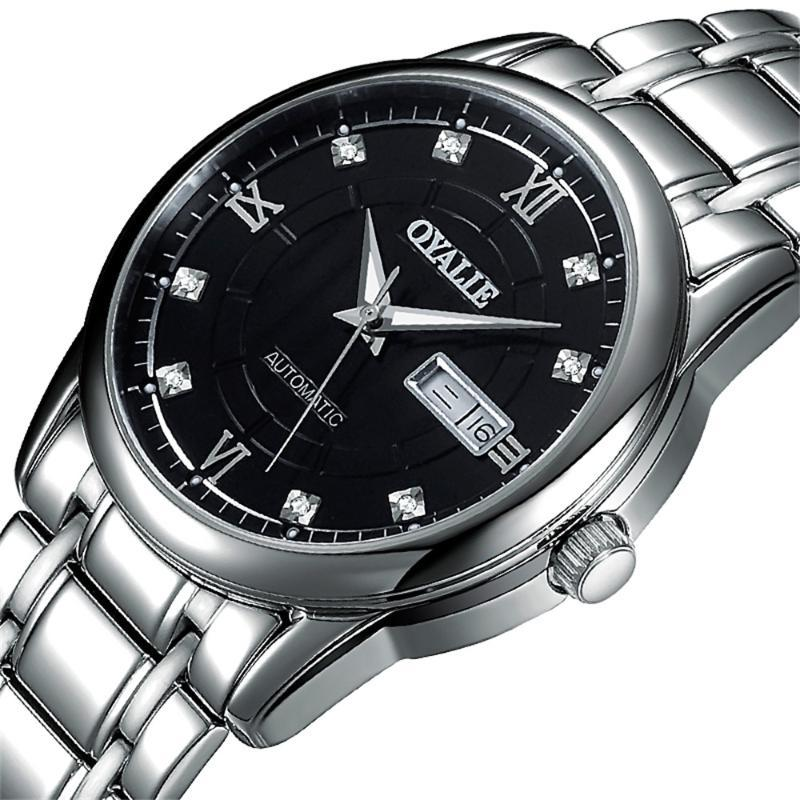 Erkekler İzle Iş Rahat Klasik Tarzı Gümüş Paslanmaz Çelik Siyah Kılıf Mekanik Wrsitwatch Otomatik Saatı için