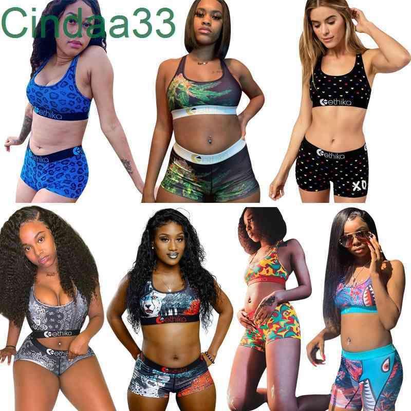 Women 2 Piece Ethika Set Womens Designer Tracksuits Vest + Pants Summer Outfits Fashion Sweatshirt Slim Breathable Fitness Swimsuit T0188