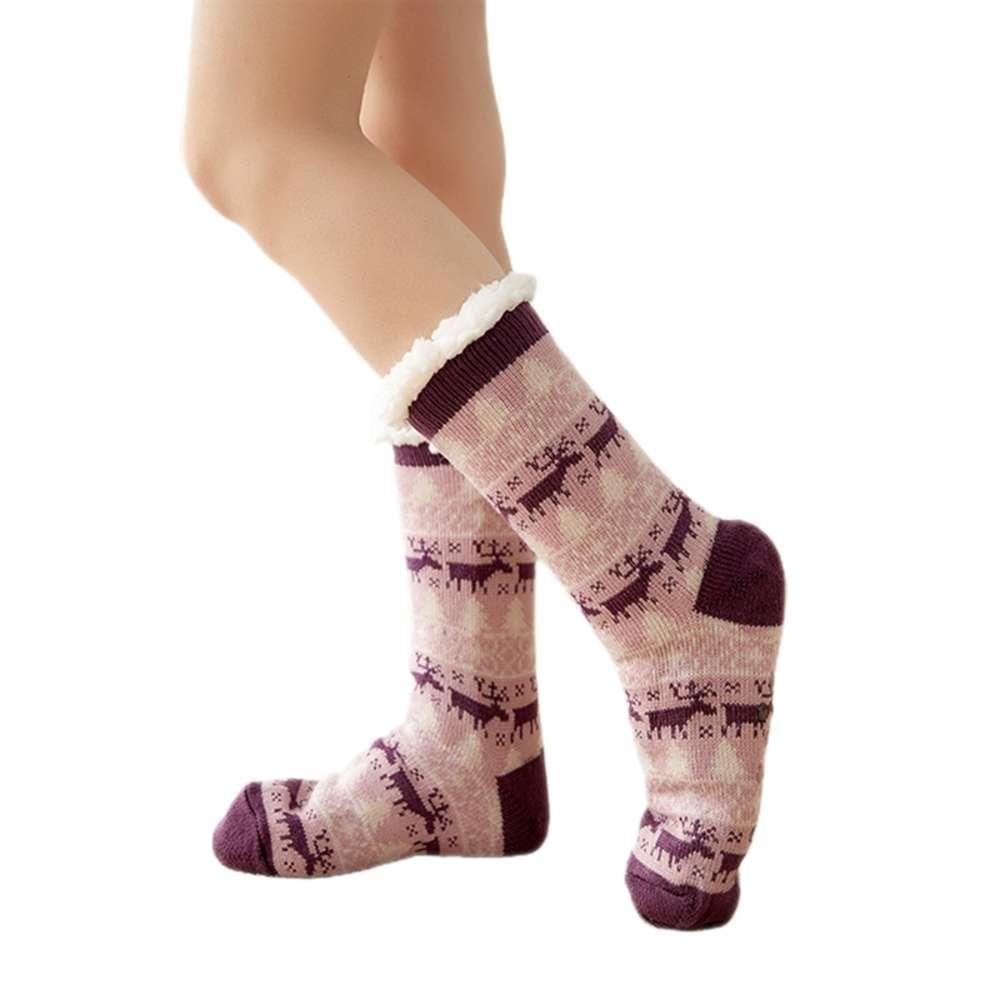 Chaussettes Womens Winter Snowflake Fleece Sos Doublure Sos Knit Thi Staings Chaud Christmas Sliper Hosiery