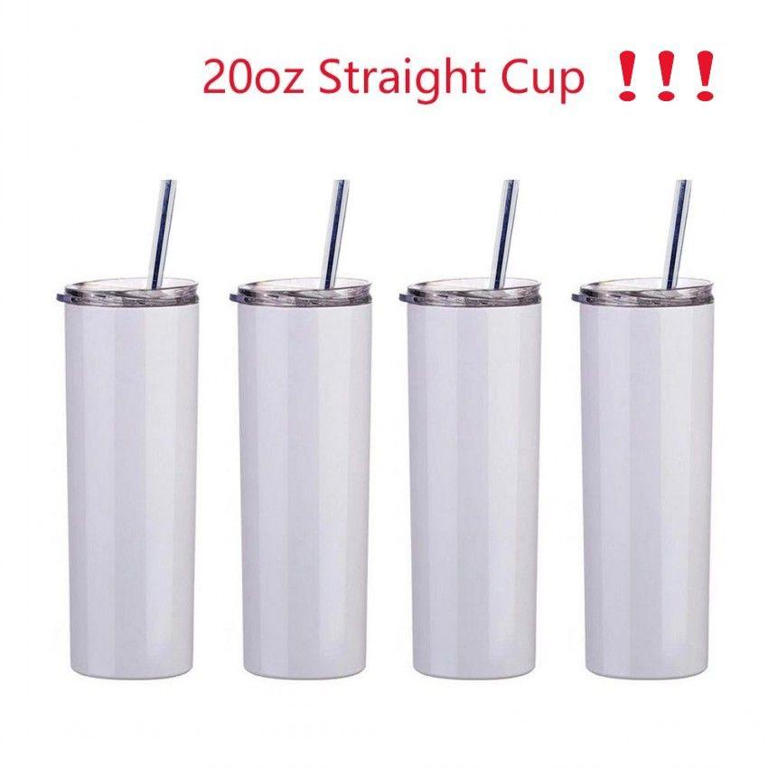 20 once di sublimazione tazza dritta bicchieri spazi vuoti in acciaio inox bianco vuoto isolato sottile fai da te 20 oz tazze tazze da caffè auto