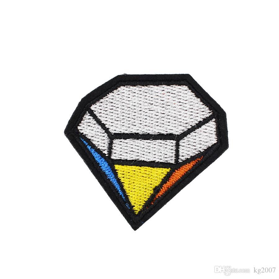 10PCS Mehrfarbendiamant-Abzeichen Aufnäher für Kleidung Taschen Eisen-on Transfer Applikationen Patch für Jacke Jeans nähen auf Stickerei-Abzeichen DIY