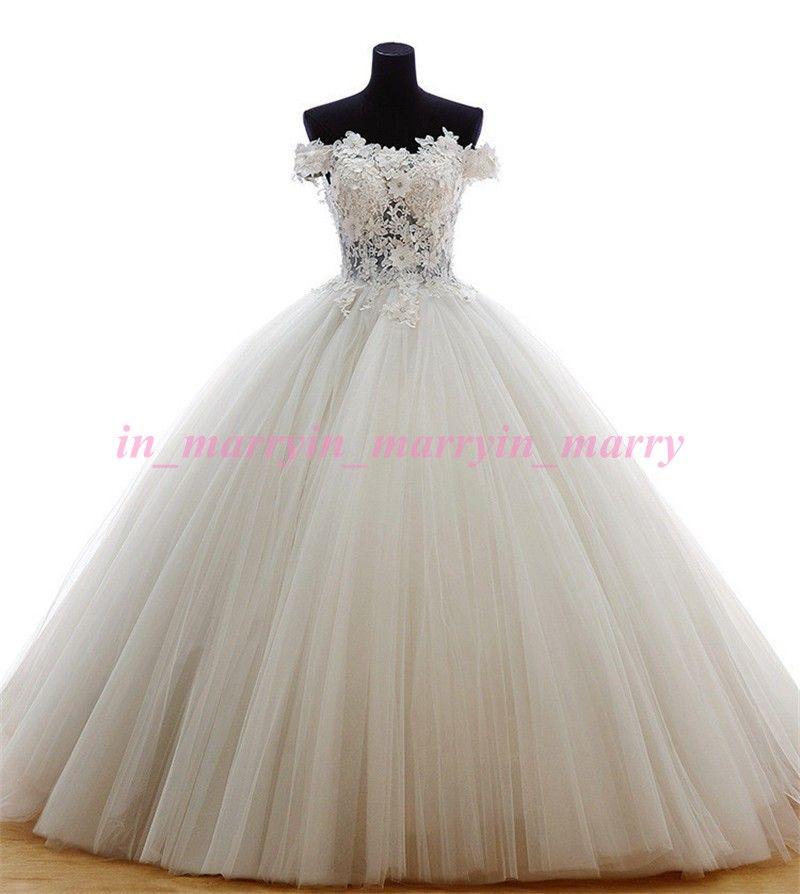 Real Images Cinderella Wedding Dresses 2015 Ball Gown Off Shoulder ...