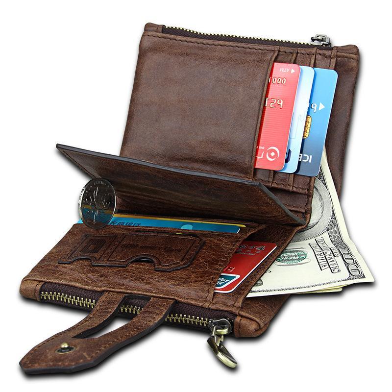 2019 Leather Men Wallets Zipper Pocket Vintage Hasp Short Men Purse