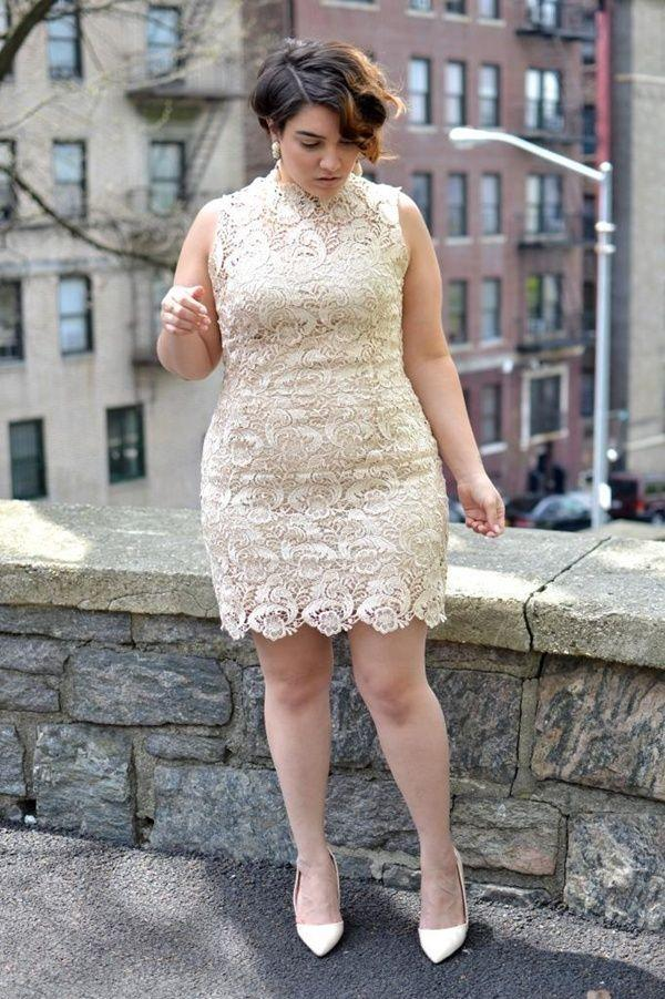 Little Lace Wedding Dresses Plus Size Appliques High Neckline See Through Sheath New Sexy Marriage Short Formal Bridal Gowns
