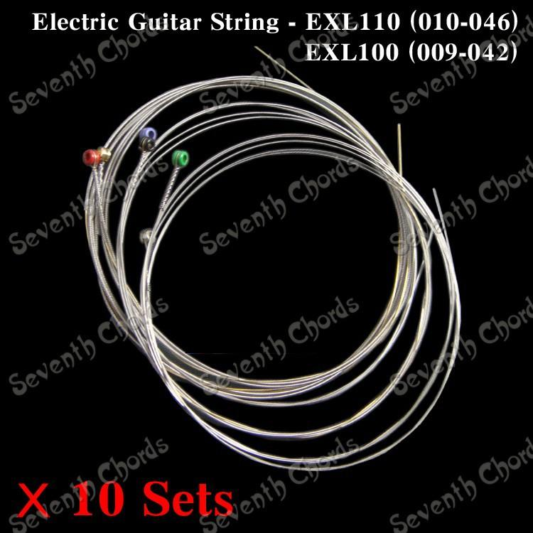10 Set Electric Guitar Strings Nickel Wound Steel String - 1st-6th Set strings- 009-042 & 010-046 for choose