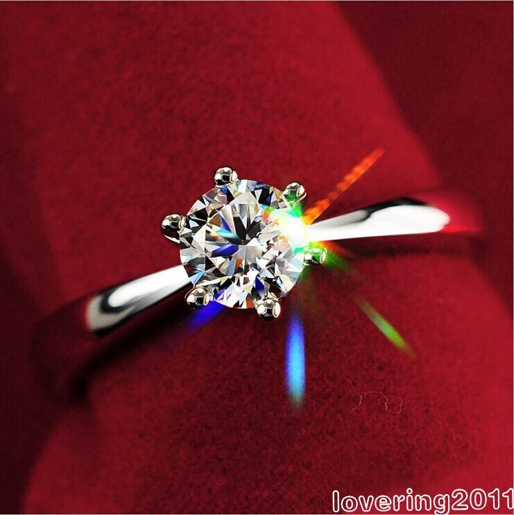 001 gift Claw Sapphire White Set Simulated shipping Lady Solitaire Free Sz 4-9 Wedding Ring Silver 925 diamond Hokrs