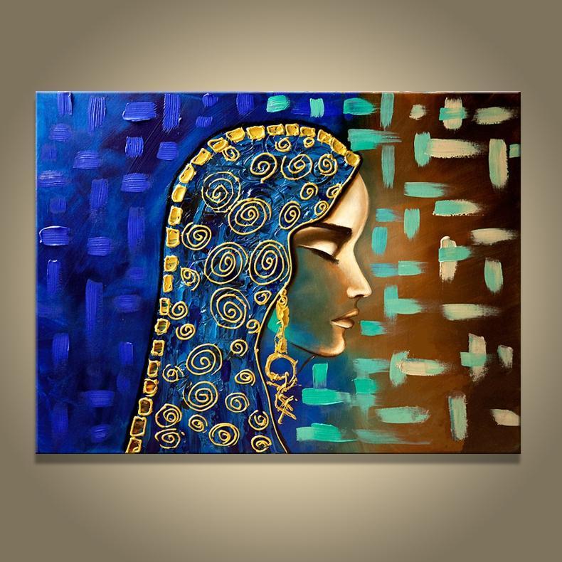 손으로 만든 그림 이집트 소녀 벽 캔버스 그림 오일 추상 미술 아랍 여성 그림 현대 홈 장식 그림