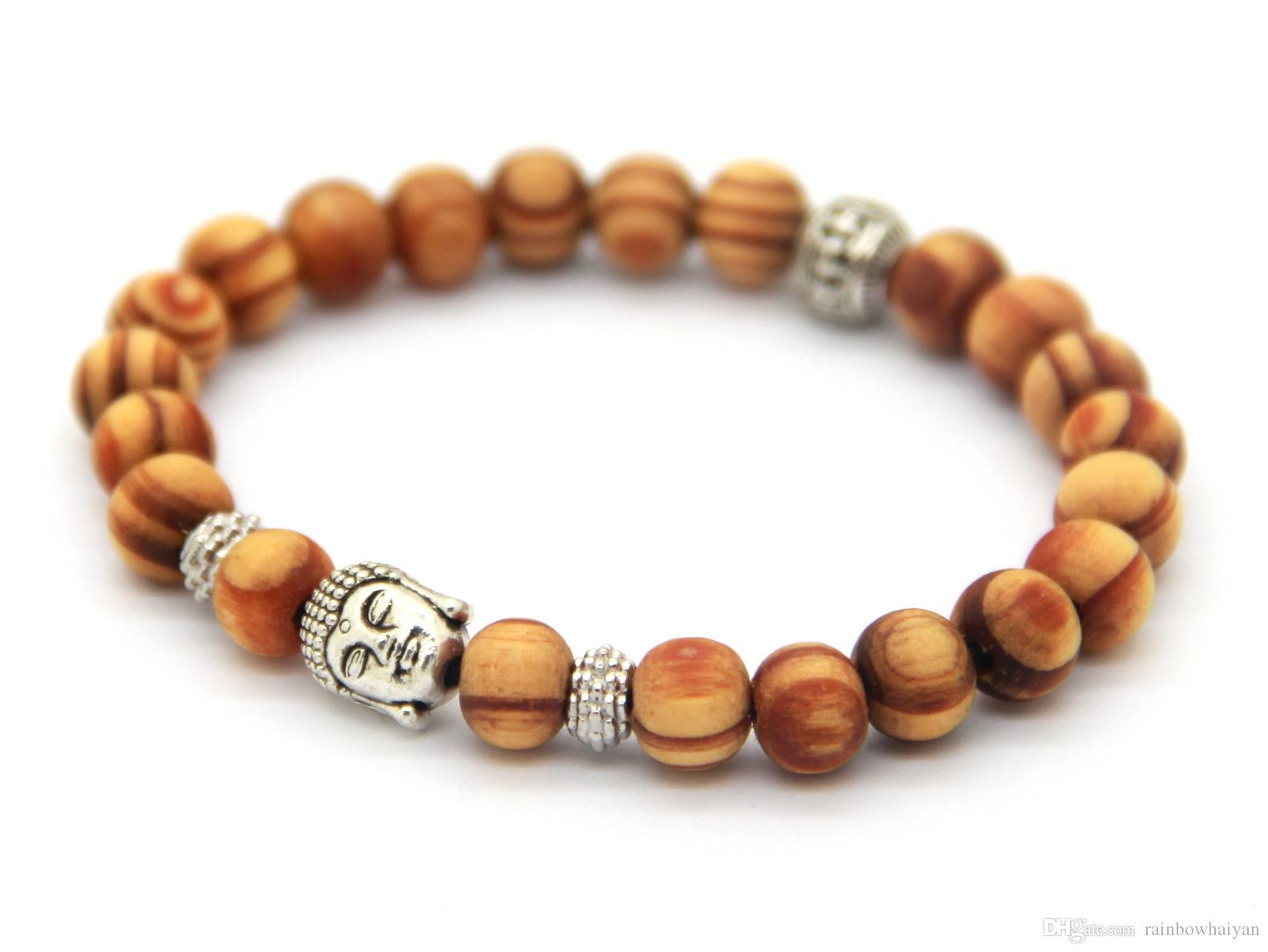 Partihandel Nya Ankomstprodukter 8mm Antik Silver Buddha Head Beaded Armband med Nice Wood Beads Smycken