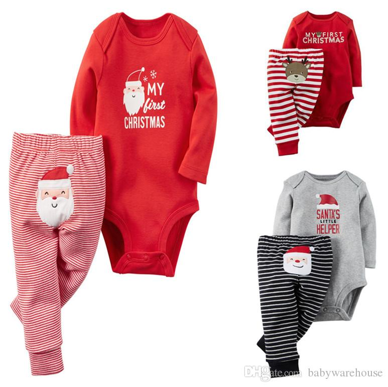 Hot Kids Christmas Clothing Set Newborn Clothes Baby Boy Clothes Baby Girls Clothes Long Sleeve Romper + Pants 2PCS Infant Xmas Outfits Sets