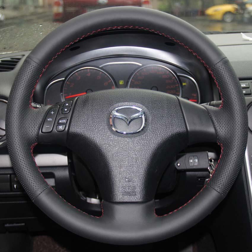 Рулевое колесо чехол для MAZDA 3 Mazda 5 Mazda 6 старые модели натуральная кожа DIY ручной стежок стайлинга автомобилей противоскользящие автомобильные чехлы