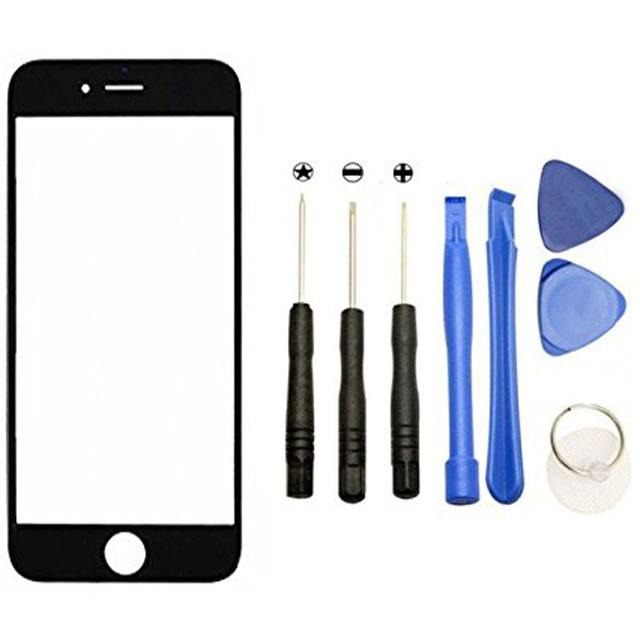 Free Shipping White Black Front Digitizer Touch Outer Glass Lens Screen For apple iPhone 6 6s 5 5C 5S 7 7P Replacement+Tools+Adhesive
