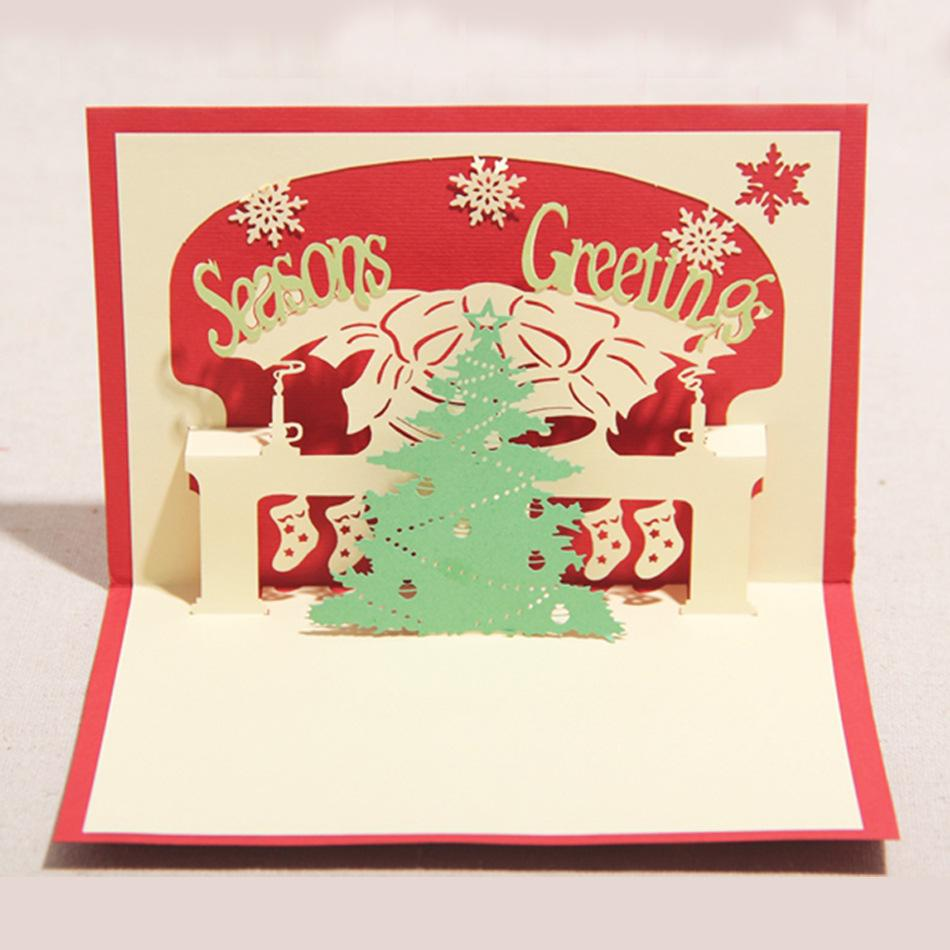 Christmas Greeting Cards Handmade.100mm 150mm High Quality Handmade Merry Christmas Tree Words Greetings Cards Kirigami 3d Pop Up Card Hot Sale Free Christmas Cards Online Free Digital