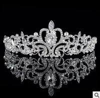 2015 Hot Elegant Rhinestone Crystal Crown Wedding Prom Headbands Silver Crown Bridal Accessories