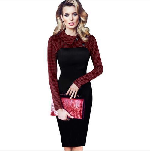 Lcw New Femmes Mode Vintage Tartan Colorblock Lapel manches longues Porter au travail de bureau Business Casual Party gaine Robe crayon
