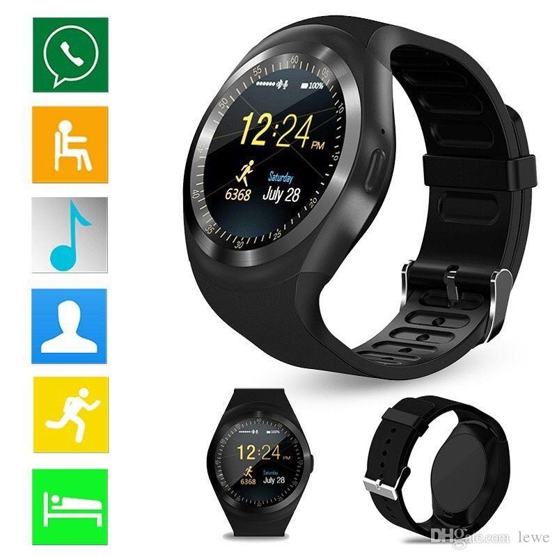 Y1 Smart watch Bluetooth Watches 1.2inch MTK6261 Support Dialer Message Call Records Contacts with Retail Box For Android Cellphone