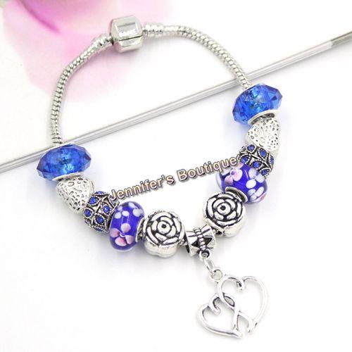 Mother's Day Gift Jewelry DIY Navy Blue Flower Lampwork Murano Glass Beaded Bracelets Double Hearts Charms European Style Bracelets
