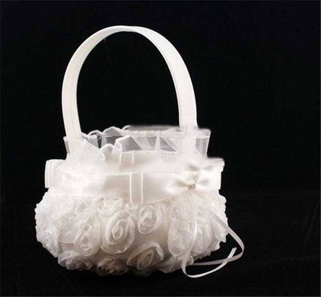 The Wedding Flower Basket With 3D Rose Square Drill The Bride Basket European Style Wire Cloth Class Fashion Lovely Heat In 2015