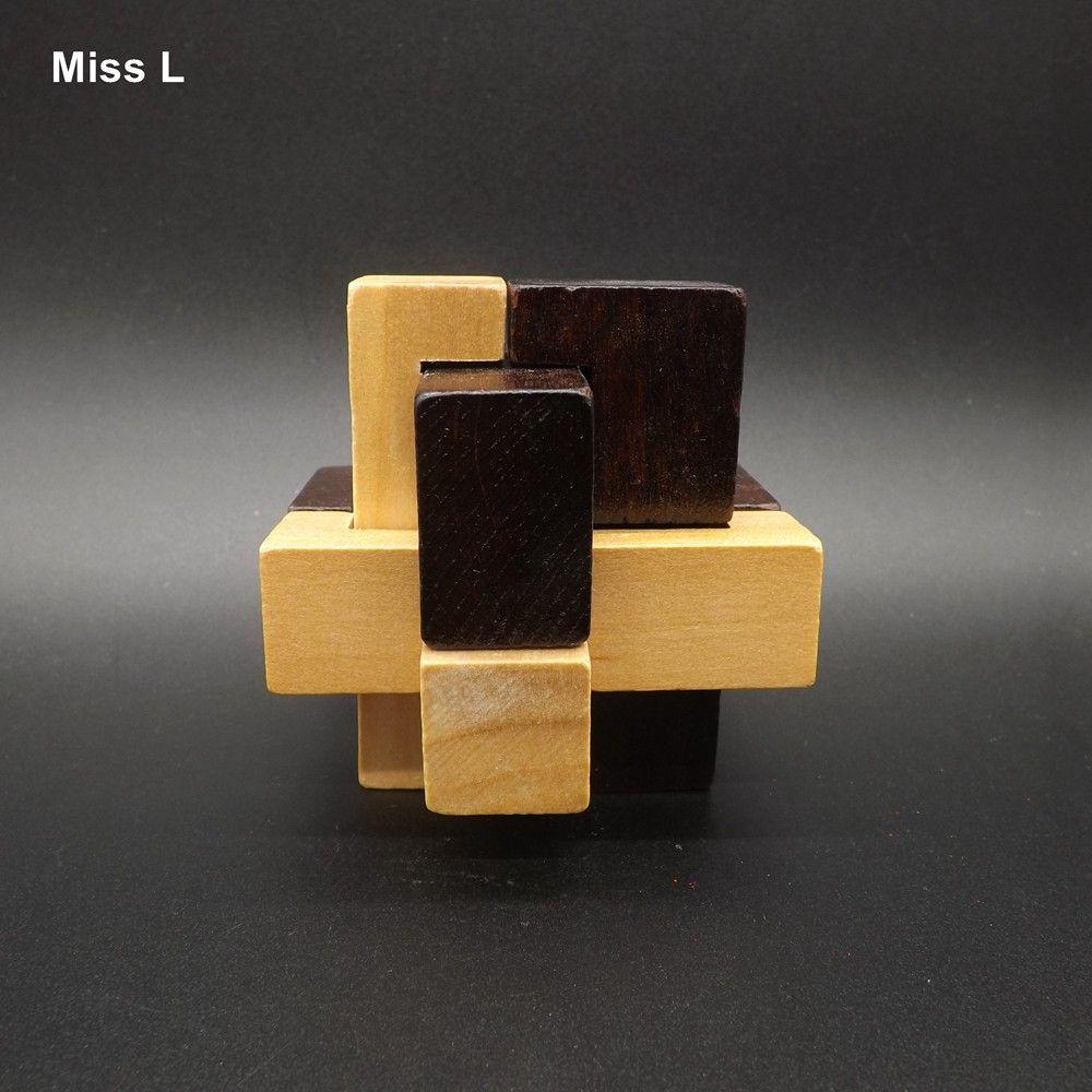 Kongming قفل الخشب الحكمة المنطق العقل الاستخبارات الدماغ التعليمية لغز اللعب disentanglement لعبة هدية كيد الطفل تعليم الدعامة لعبة