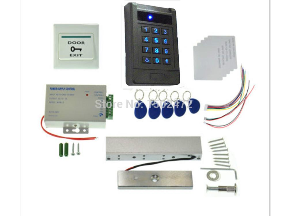 Fabrika Outlet RFID KIMLIK Okuyucu + Keyfob Erişim Kontrol Kiti Elektrikli Strike Kapı Kilidi Manyetik Kilit