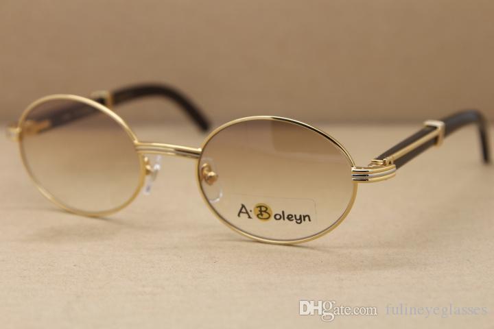 Echte heiße runde 2822546 natürlich c schwarz metall sonnenbrille rahmen sonnenbrille rahmen dekoration gold büffel gläser horn größe: 53-22-135m vfvr