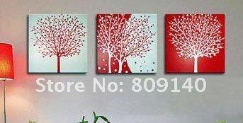 abstract tree oil painting canvas classic red white artwork landscape Quality handmade home office hotel wall art decor decoration free ship