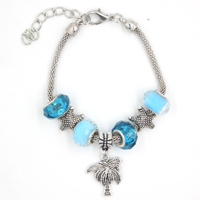 Free Shipping New Arrival Jewelry Ocean Beach Charms Bracelet Starfish Palm Tree Charm Bracelet for Christmas Holiday Gifts