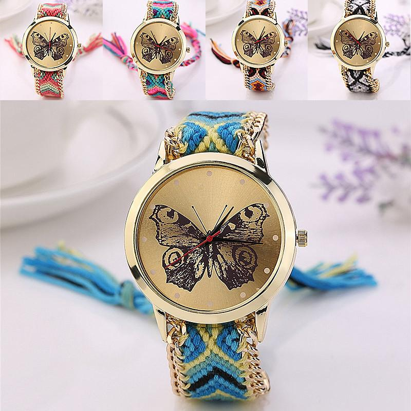 Fashion ladies butterfly design bracelet watch women girls chain ...
