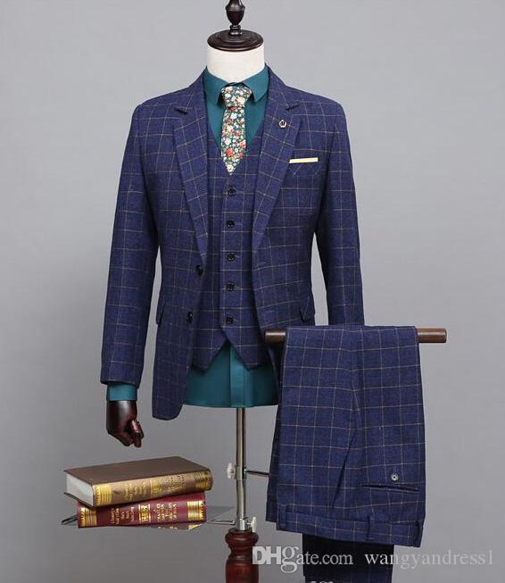 Neue ankunft Nach maß Zweireiher Hochzeit Anzüge Bräutigam Smoking schönen Anzug Formelle Anzüge Best Man Groomsman anzüge (Jacke + Pants + Westen)