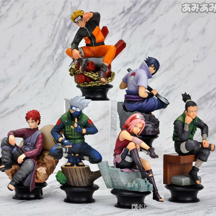 Naruto Action Figure Doll High Quality Sasuke Gaara Shikamaru Kakashi Sakura Naruto Anime Toys Collection for Boys 6 PCS / Set