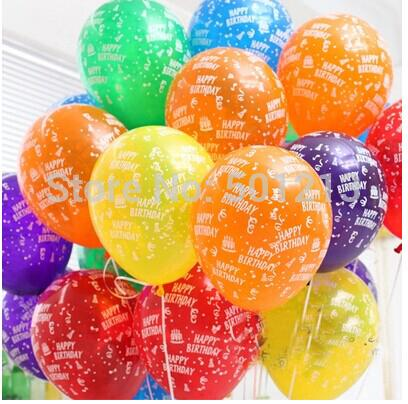 Liberi la nave 100pcs / lot 12inch Birthday Party Decoration Ballons Lattice rotondo elio palloncino buon compleanno stampato