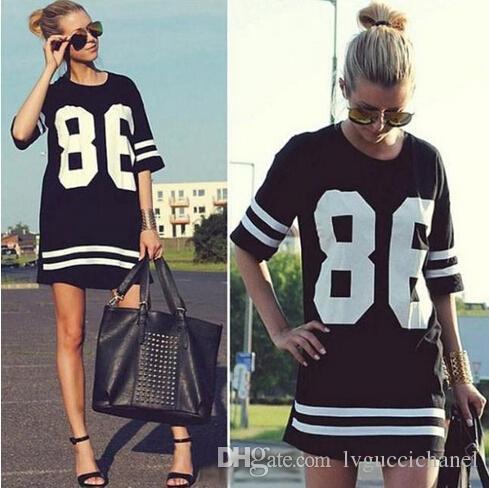 Новый 2015 черный повседневная лето женщины знаменитости негабаритных 86 печатных американский бейсбол Майка девушки топ Половина рукава свободные платья M-XL горячие продажа