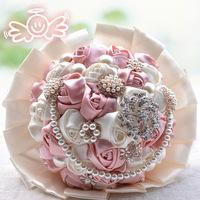 How Sale Wedding Supplies Brooch Bridal Bouquet Diamond Viscose Bridal Bouquet Pearl Ribbon 2015 Bouquet Bride Holding Flowers