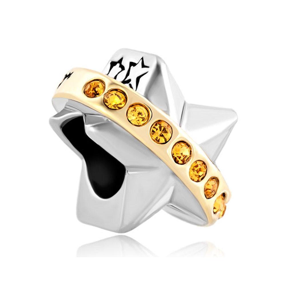 Círculo Wish Upon A Star Lucky Two Tone Plateado orificio grande perno deslizante de metal Espaciador europeo apto Pandora Chamilia Biagi charm bracelet