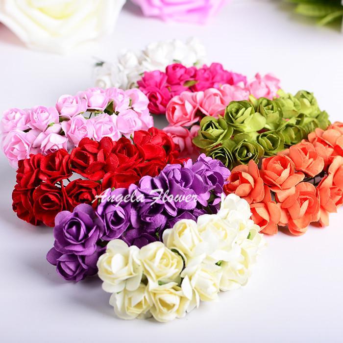 Бесплатная доставка 144pcs/комплект бумажные цветы ,свадебные украшения , мини розы ручной работы Малый свадебный букет скрапбукинг рождественский декор