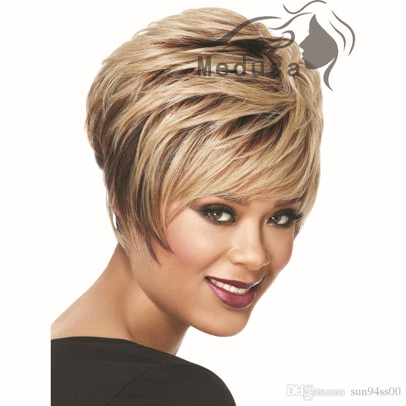 Sunny Hair Products 2015 Styles Short Blonde Bob Wig With Bangs Afro Straight Styles Synthetic American Wigs For Women Synthetic Full Lace Wigs With